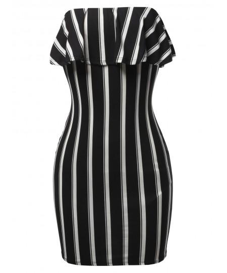 Women's Sexy Tube Ruffled Mini Dress
