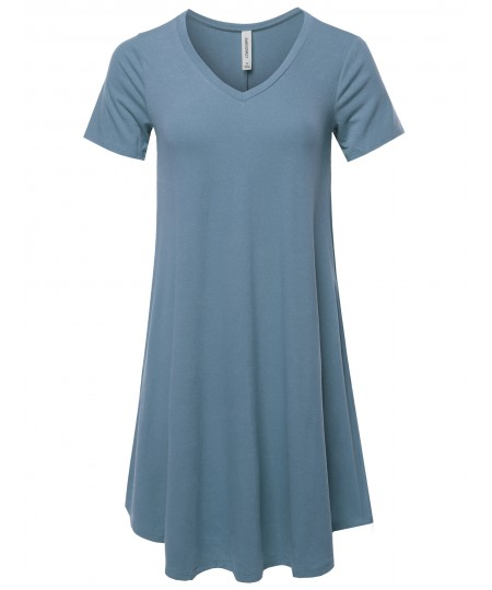 Women's Solid Casual Plain Simple V-neck T-shirt Loose Dress