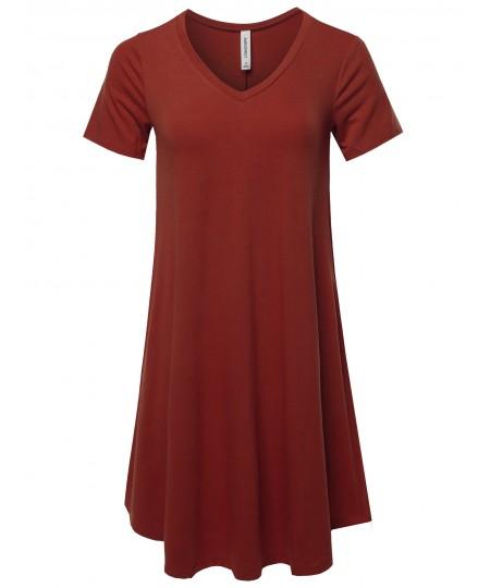 Women's Solid Casual Plain Simple V-neck T-shirt Loose Dress