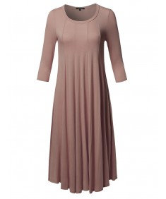 Women's Casual A-Line Swing Flare Round Neck 3/4 Sleeve Midi Dress Made in USA
