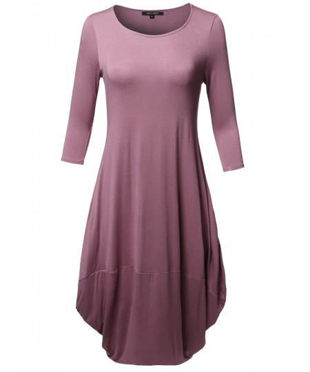 Women's Casual 3/4 Sleeve Bubble Midi Dress with Pocket Made in USA