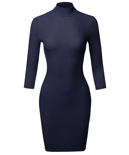 Women's Casual 3/4 Sleeve Turtleneck Ribbed Mini Body-Con Dress