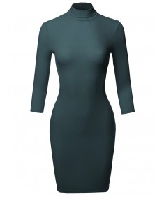 Women's Casual 3/4 Sleeve Turtleneck Ribbed Mini Body-Con Dress