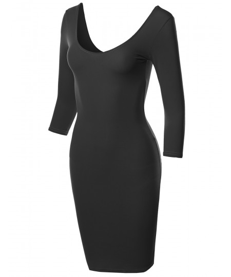 Women's Basic Solid Deep Scoop Back-Neck 3/4 Sleeve Body-Con Dress