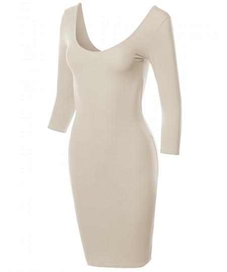 Women's Basic Solid Deep Scoop Back-Neck 3/4 Sleeve Body-Con Dress