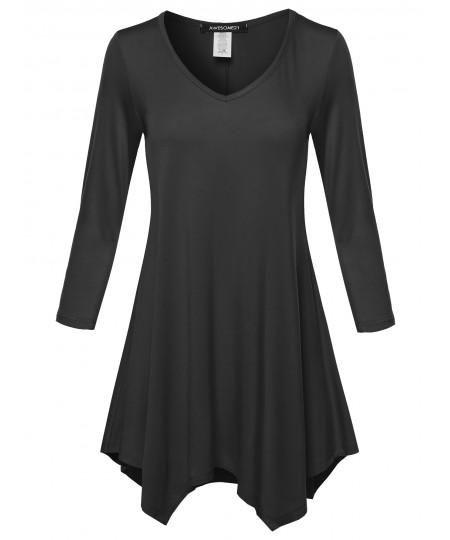 Women's Solid 3/4 Sleeves Asymmetrical Flare Tunic Top T-Shirt - Made in USA
