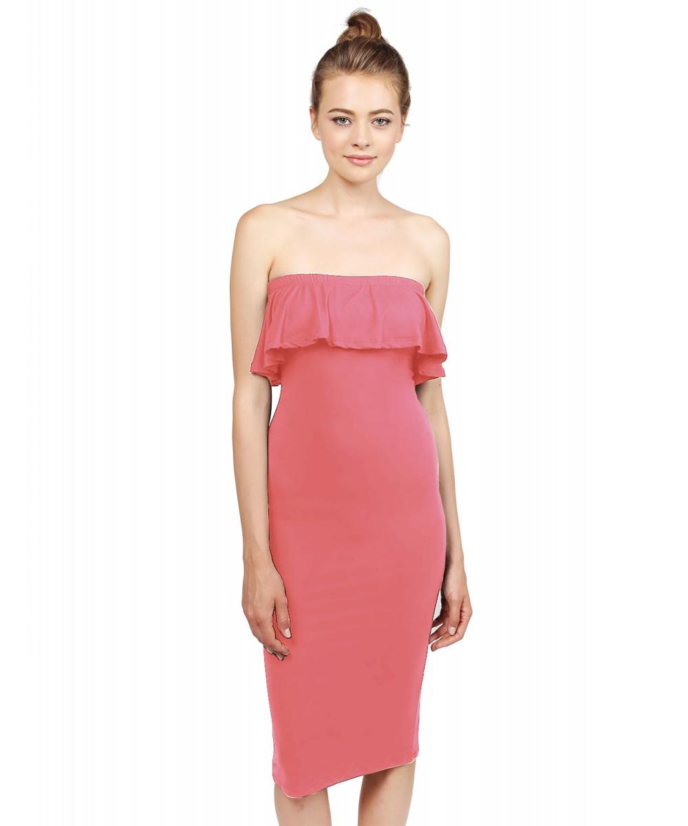 12b36408b2 Women s Soft Stretch Solid Ruffle Strapless Tube Midi Bodycon Dress ...