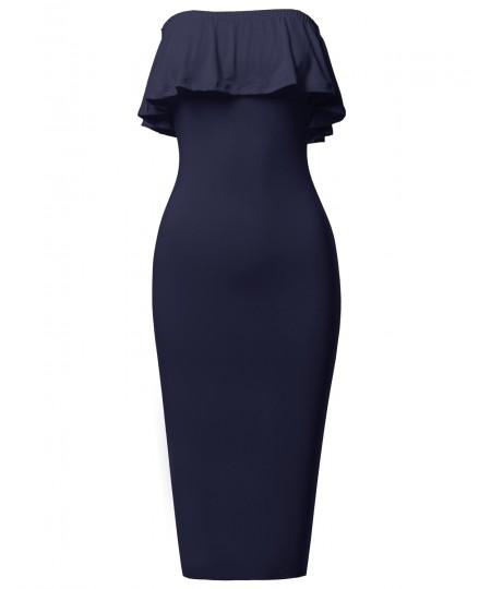 Women's Soft Stretch Solid Ruffle Strapless Tube Midi Bodycon Dress
