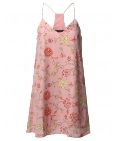 Women's Summer Floral Strappy Lined Chiffon Mini Slip Cocktail Dress