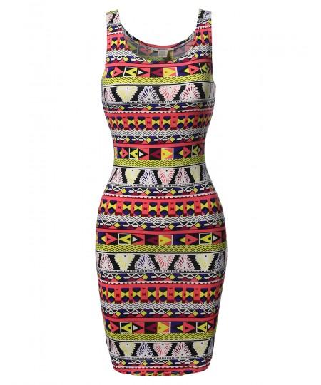 Women's Lightweight Soft Stretch Floral Sleeveless Bodycon Mini Dress