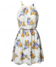 Women's Floral Strappy Elastic Waistband Lined Chiffon Mini Dress