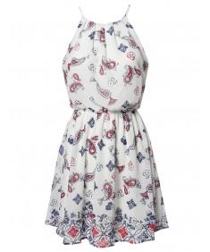 Women's Paisley Strappy Elastic Waistband Lined Chiffon Mini Dress