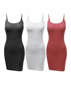 Women's [3PACK] Basic Solid Spaghetti Strap Cami Slip Dress