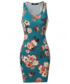 Women's Casual Floral Fitted Sleeveless Racerback Bodycon Mini Dress