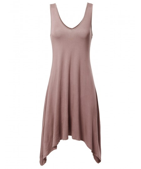 Women's Solid Soft Stretch V-neck Sleeveless Trapeze Asymmetrical Dress