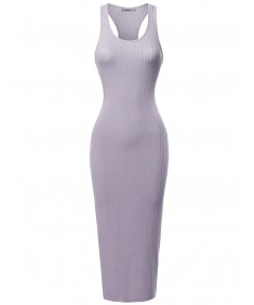 Women's Solid Soft Stretch Ribbed Sleeveless Racerback Midi Bodycon Dress