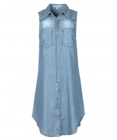 Women's Soft Denim Chambray Sleeveless Fringe Button Down Dress Shirt Top