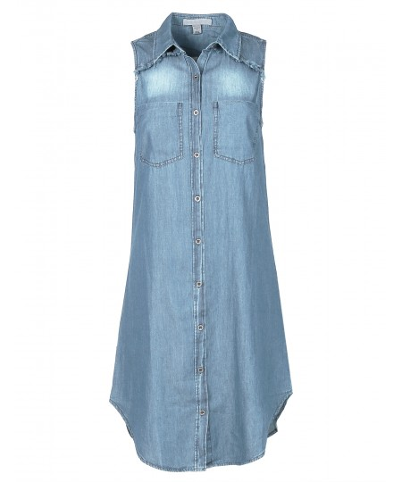 Women's Soft Denim Chambray Sleeveless Fringe Button Down Dress Shirt Top