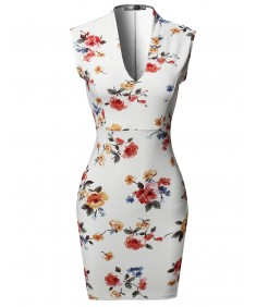 Women's Floral Print Sleeveless Deep V-neck  Body-Con Mini Dress