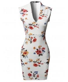 Women's Floral Print Sleeveless Deep V-neck  Body-Con Mini Dress