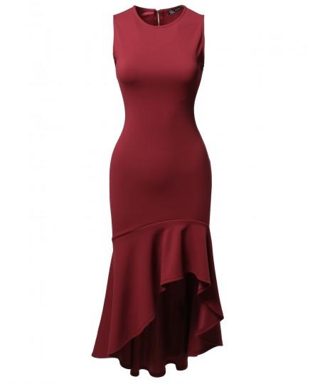 Women's Sleeveless Flare with Ruffle Hemline Body-Con High Low Dress
