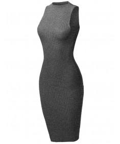 Women's Sleeveless High Neck Stretch Rib Sexy Body-Con Dress