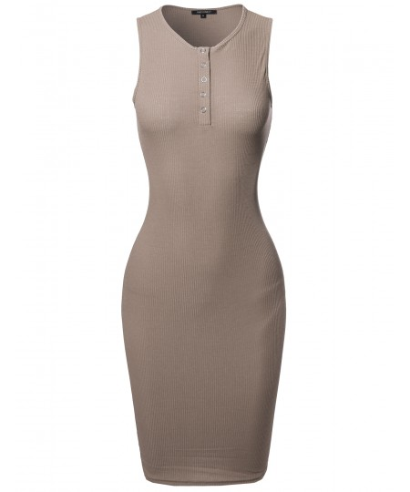 Women's Casual Sleeveless Ribbed Knit Body-Con Henley Dress