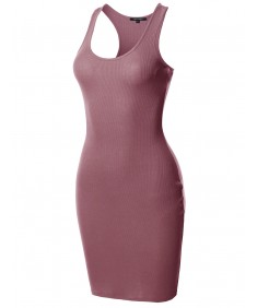 Women's Solid Basic Sleeveless Fitted Ribbed Mini Dress