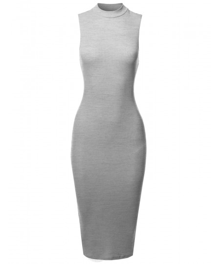 Women's Solid Sleeveless Mock Neck Stretch Ribbed Sexy Body-Con Dress