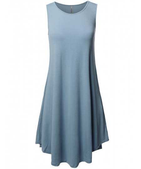 Women's Solid Premium Fabric Round Neck Sleeveless Round Hem Dress with Side Pocket