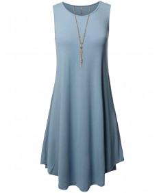 Women's Solid Premium Fabric Round Neck Sleeveless Round Hem Dress with Side Pocket