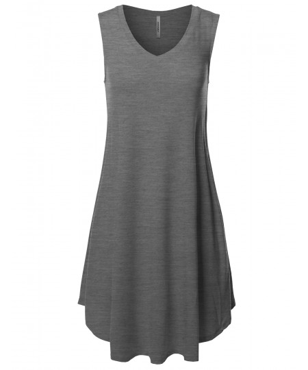 Women's Solid Premium Fabric V-Neck Sleeveless Round Hem Dress with Side Pocket