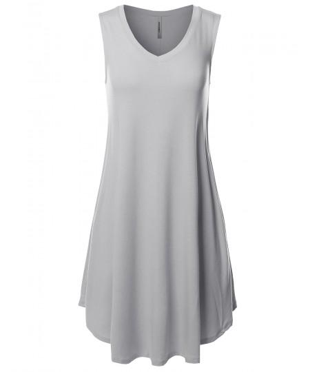 Women's Solid Premium Fabric V-Neck Sleeveless Round Hem Dress with Side Pocket