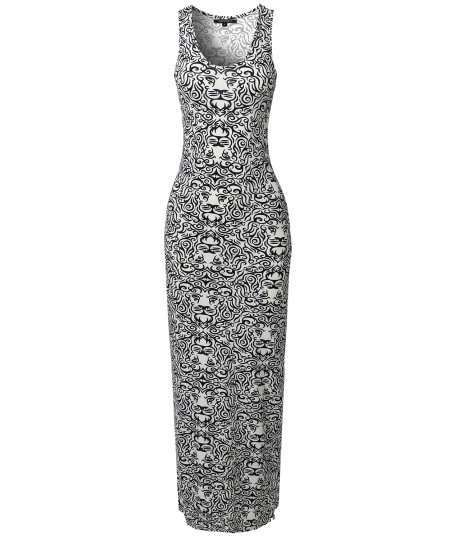 Women's Casual Variety Print Sleeveless Maxi Dress