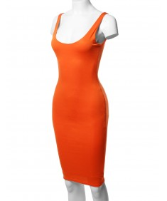 Women's Solid Deep Scoop Neck Sleeveless Body-Con Midi Dress - Made in USA