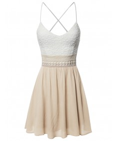 Women's Sleeveless Spaghetti Strap Lace Detail Baby Doll Dress - Made in USA