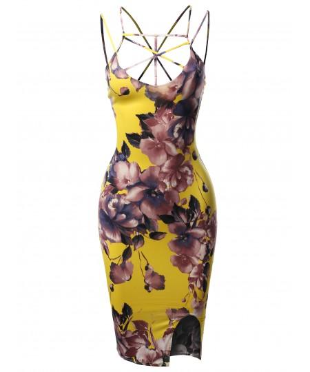 Women's Floral Spaghetti Spider Web Strap Body-Con Midi Dress - Made in USA