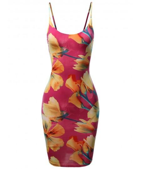 Women's Floral Spaghetti Strap Body-Con Midi Dress - Made In USA