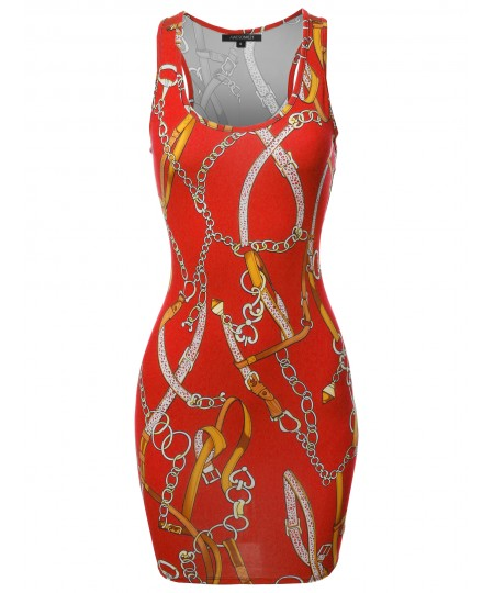 Women's Floral or Camouflage Printed Sexy Body-Con Racer-Back Mini Dress