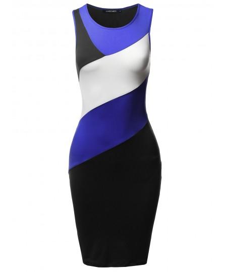Women's Casual Color Block Body-Con Midi Tank Dress