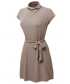 Women's Casual Solid Loosed Mock Neck Cap Sleeves Belted Dress