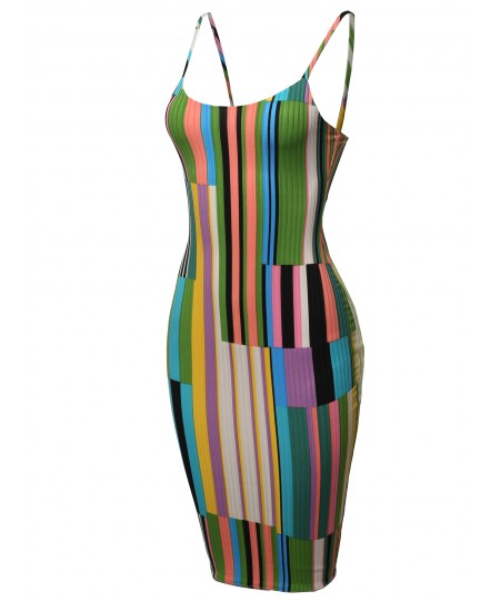 Women's Stripes Patterned Ribbed Body-Con Midi Dress - Made in USA