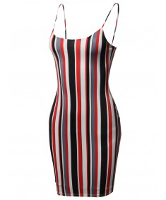 Women's Vertical Stripes Spaghetti Strap Body-Con Mini Dress - Made in USA