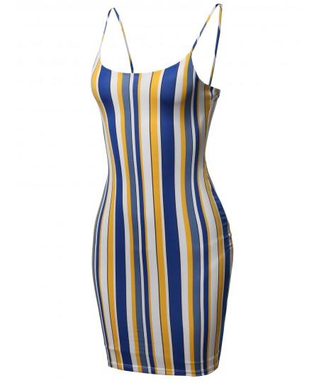 Women's Vertical Stripes Spaghetti Strap Body-Con Mini Dress - Made in USA