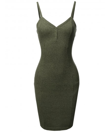 Women's Solid Henley V-Neck Ribbed Body-Con Dress