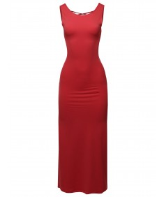 Women's Solid Lace-up Back Long Maxi Dress