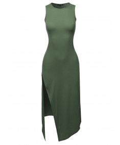Women's Solid One Side Slit Tank Maxi Dress