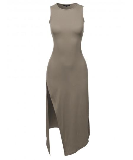 Women's Solid One Side Slit Tank Maxi Dress