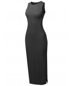 Women's Solid Two Side Slit Tank Maxi Dress