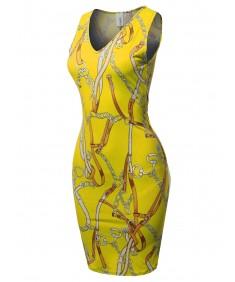 Women's Casual V-neck Sleeveless Sexy Body-Con Mini Dress - Made in USA